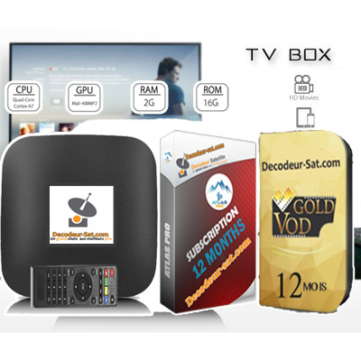 MEGA Pack Android Tv Box + ATLAS PRO IPTV + GOLD VOD