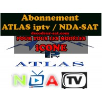 ABONNEMENT ATLAS IPTV / NDA-SAT POUR TOUS LES MODÈLES iCONE