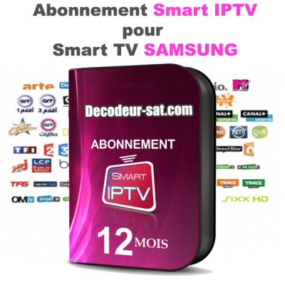 abonnement smart iptv pour samsung smart tv 12 mois. Black Bedroom Furniture Sets. Home Design Ideas